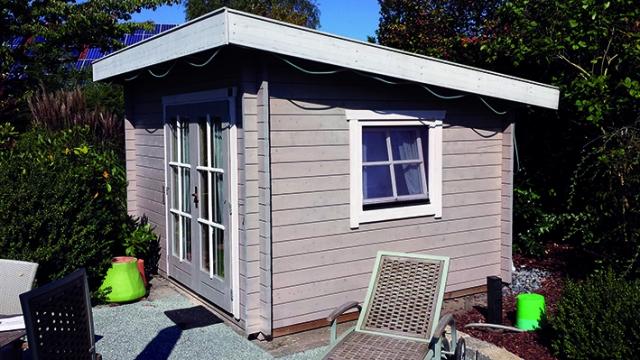 Gartenhaus, Pultdach, Sprossenfenster