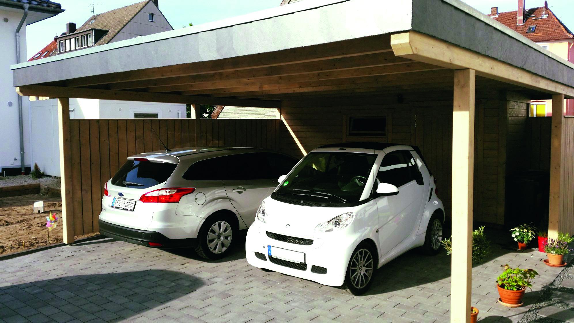 Doppel-Carport mit Stellfläche und Abstellraum