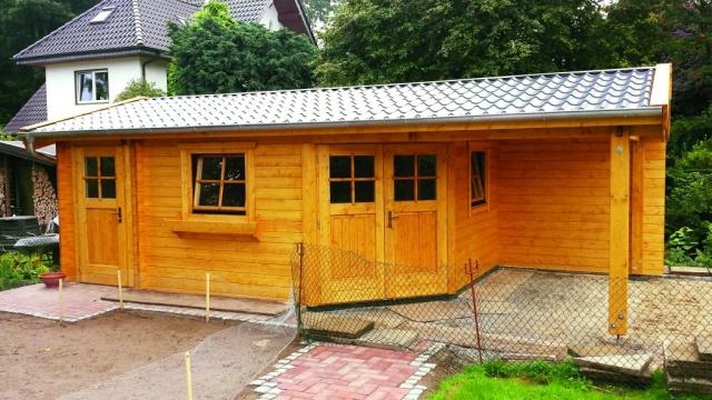 Gartenhaus, Doppeltür in Eckausführung